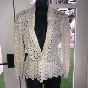 Yoana Baraschi Ivory Open Cut Work Lace Jacket